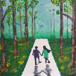 romantic walk in serenity, 8 x 10 inch, deblina bhattacharjee,8x10inch,canvas,paintings,landscape paintings,modern art paintings,conceptual paintings,portrait paintings,paintings for dining room,paintings for living room,paintings for bedroom,paintings for office,paintings for bathroom,paintings for kids room,paintings for hotel,paintings for kitchen,paintings for hospital,acrylic color,natural color,GAL02492436428