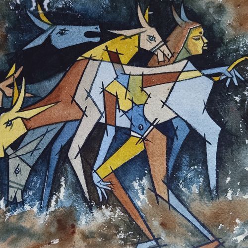 the guide, 11 x 14 inch, aniruddha lanjewar,11x14inch,handmade paper,paintings,modern art paintings,paintings for dining room,paintings for living room,paintings for bedroom,paintings for office,paintings for kids room,paintings for hotel,paintings for school,paintings for hospital,acrylic color,GAL02486636435