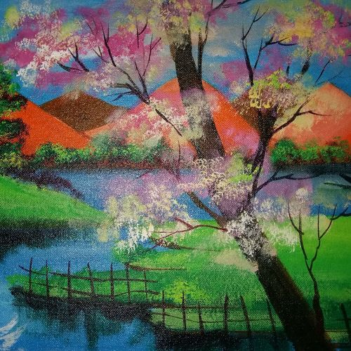 graphical image of a forest lake view, 12 x 17 inch, popo singh,paintings for living room,landscape paintings,nature paintings,canvas,watercolor,12x17inch,GAL013293644Nature,environment,Beauty,scenery,greenery