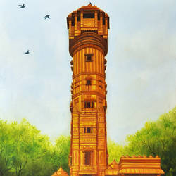 kirti stambh, 24 x 36 inch, biepiin  sathvara,24x36inch,canvas,paintings,figurative paintings,religious paintings,realistic paintings,paintings for dining room,paintings for living room,paintings for office,paintings for bathroom,paintings for kids room,paintings for hotel,paintings for kitchen,paintings for school,paintings for hospital,oil color,GAL02493236442