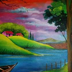 nature's view, 14 x 18 inch, popo singh,paintings for dining room,landscape paintings,nature paintings,canvas,watercolor,14x18inch,GAL013293645Nature,environment,Beauty,scenery,greenery