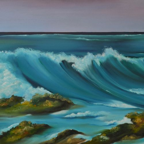 into the sea, 36 x 24 inch, sudeshna  chatterjee,36x24inch,canvas,paintings,landscape paintings,nature paintings | scenery paintings,photorealism,realistic paintings,paintings for dining room,paintings for living room,paintings for bedroom,paintings for office,paintings for hotel,oil color,GAL02448736451