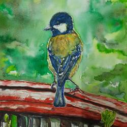 vibrant birds : green backed tit, 12 x 17 inch, vaishali singh,12x17inch,thick paper,paintings,wildlife paintings,animal paintings,paintings for dining room,paintings for living room,paintings for bedroom,paintings for office,paintings for hotel,watercolor,GAL02492636454