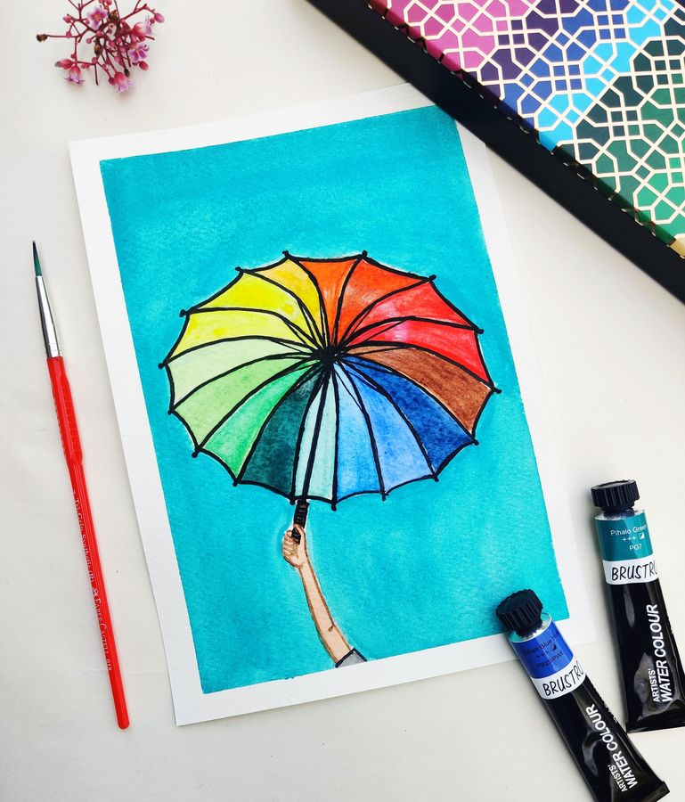 my colourful umbrella, 15 x 8 inch, shivaani kk,15x8inch,ivory sheet,abstract paintings,multi piece paintings,conceptual paintings,illustration paintings,contemporary paintings,paintings for living room,paintings for office,paintings for kids room,paintings for hotel,paintings for school,paintings for hospital,paintings for living room,paintings for office,paintings for kids room,paintings for hotel,paintings for school,paintings for hospital,watercolor,GAL02442236462