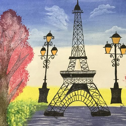 eiffel tower painting, 12 x 17 inch, tanesha gupta,12x17inch,cartridge paper,paintings,cityscape paintings,paintings for dining room,paintings for living room,paintings for bedroom,acrylic color,graphite pencil,paper,GAL0355336463