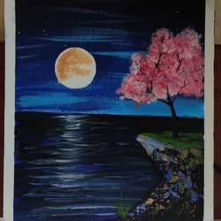 peaceful night , 8 x 10 inch, abhilipsa  mahapatra,8x10inch,canvas,paintings,portrait paintings,paintings for bedroom,acrylic color,GAL02379036464