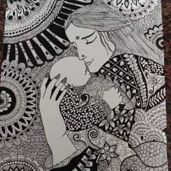 mandala art, 11 x 14 inch, ruchi sharad,11x14inch,drawing paper,drawings,fine art drawings,paintings for bedroom,pen color,ball point pen,paper,GAL02500236467