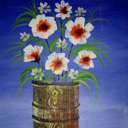texture work flower vas, 15 x 12 inch, popo singh,abstract paintings,paintings for dining room,flower paintings,canvas,watercolor,15x12inch,GAL013293647