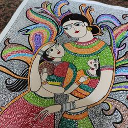 madhubani + wãrlí art, 14 x 16 inch, ruchi sharad,14x16inch,thick paper,paintings,folk art paintings,madhubani paintings | madhubani art,warli paintings,paintings for dining room,paintings for living room,paintings for bedroom,paintings for office,paintings for kids room,paintings for hotel,paintings for kitchen,paintings for school,paintings for hospital,pen color,watercolor,paper,GAL02500236470