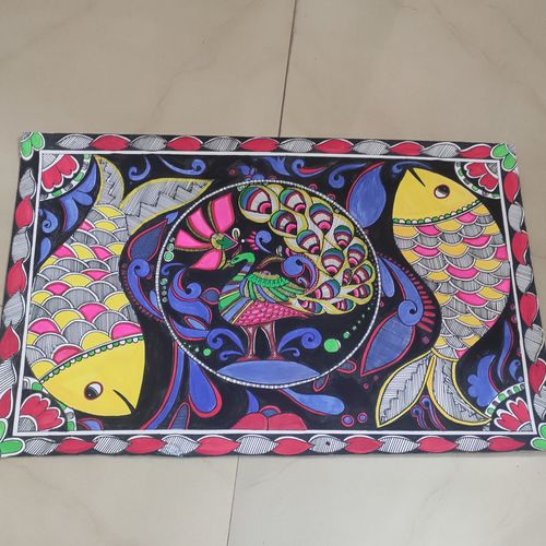 madhubani art, 14 x 22 inch, ruchi sharad,14x22inch,thick paper,paintings,folk art paintings,madhubani paintings | madhubani art,paintings for dining room,paintings for living room,paintings for bedroom,paintings for office,paintings for kids room,paintings for hotel,paintings for kitchen,paintings for school,paintings for hospital,pen color,watercolor,paper,GAL02500236471