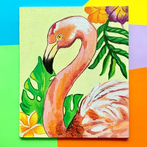 flamingo bird, 10 x 12 inch, harsha  khanchandani ,10x12inch,canvas,paintings,abstract paintings,flower paintings,modern art paintings,abstract expressionism paintings,impressionist paintings,minimalist paintings,pop art paintings,animal paintings,paintings for dining room,paintings for living room,paintings for bedroom,paintings for kids room,paintings for kitchen,paintings for school,paintings for hospital,oil color,GAL02500836474