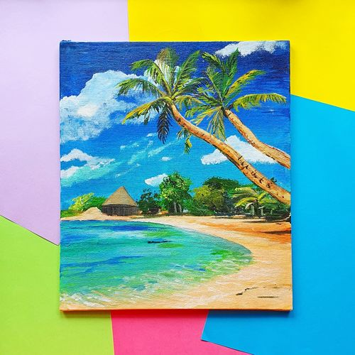 tropical beach palms, 8 x 10 inch, harsha khanchandani ,8x10inch,canvas,paintings,abstract paintings,landscape paintings,modern art paintings,nature paintings | scenery paintings,impressionist paintings,photorealism paintings,realistic paintings,paintings for dining room,paintings for living room,paintings for bedroom,paintings for office,paintings for bathroom,paintings for kids room,paintings for hotel,paintings for kitchen,paintings for school,paintings for hospital,acrylic color,GAL02500836478