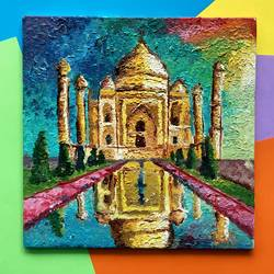 taj mahal vibrant skies texture painting, 8 x 8 inch, harsha khanchandani ,8x8inch,canvas,paintings,abstract paintings,cityscape paintings,landscape paintings,modern art paintings,contemporary paintings,realistic paintings,paintings for dining room,paintings for living room,paintings for bedroom,paintings for office,paintings for bathroom,paintings for kids room,paintings for hotel,paintings for kitchen,paintings for school,paintings for hospital,acrylic color,oil color,GAL02500836479