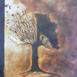 a tree for a shelter of birds, 15 x 12 inch, popo singh,abstract paintings,paintings for dining room,canvas,watercolor,15x12inch,GAL013293648