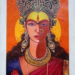 durga devi mata, 16 x 33 inch, santosh dangare,16x33inch,canvas,paintings,figurative paintings,religious paintings,portrait paintings,realism paintings,ganesha paintings | lord ganesh paintings,paintings for dining room,paintings for living room,paintings for bedroom,paintings for office,paintings for hotel,acrylic color,GAL01969336482