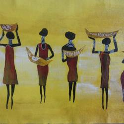 tribal ladies searching for livelyhood, 12 x 14 inch, popo singh,abstract paintings,paintings for dining room,canvas,watercolor,12x14inch,GAL013293649