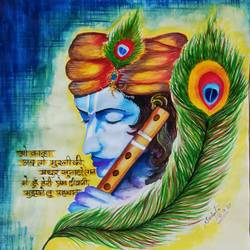 lord krishna, 18 x 24 inch, sudipta jha,18x24inch,thick paper,paintings,radha krishna paintings,paintings for living room,paintings for bedroom,paintings for office,poster color,GAL02420236492