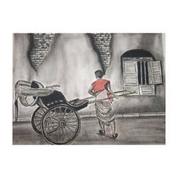 let's go for a ride, 16 x 12 inch, davinder kuril,16x12inch,hardboard,paintings,street art,paintings for dining room,paintings for living room,paintings for office,paintings for hotel,charcoal,GAL02419736499