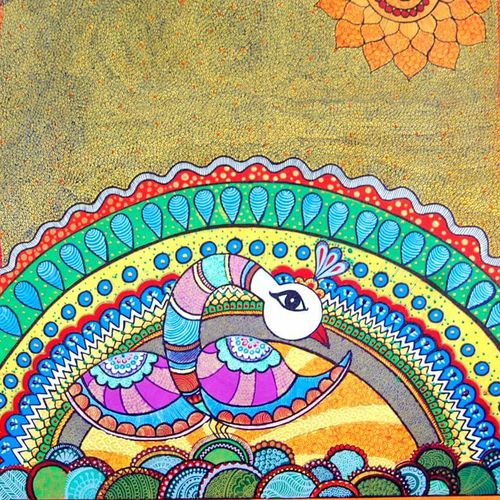 madhubani painting peacock 2, 36 x 36 inch, mohi jaya,folk art paintings,paintings for living room,madhubani paintings,canvas,acrylic color,36x36inch,GAL0157365