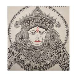 maa durga, 10 x 10 inch, davinder kuril,10x10inch,hardboard,drawings,paintings for living room,paintings for office,paintings for hotel,pen color,GAL02419736500