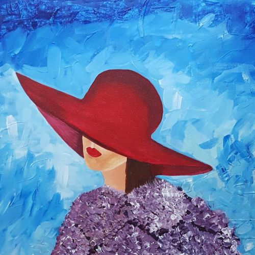 lady with red hat , 24 x 24 inch, sheetal chaudhary,24x24inch,canvas,paintings,abstract paintings,abstract expressionism paintings,paintings for dining room,paintings for living room,paintings for bedroom,paintings for office,paintings for kids room,paintings for hotel,paintings for kitchen,paintings for school,acrylic color,GAL01560336501