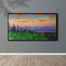 smokey hills north carolina, 40 x 26 inch, lily kamwal,40x26inch,canvas,landscape paintings,acrylic color,GAL02483136509