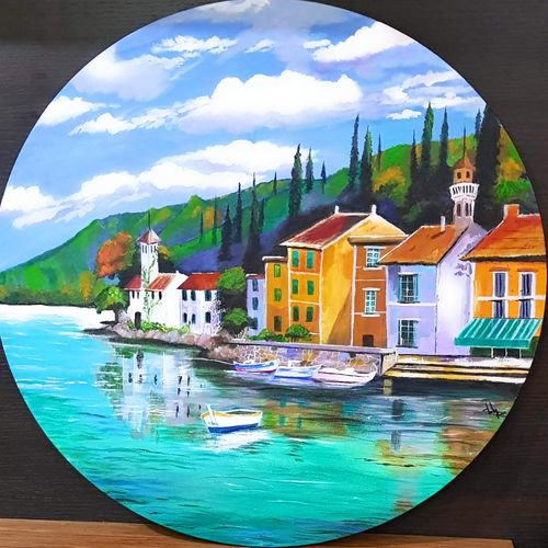 town by the sea, 24 x 24 inch, lily kamwal,24x24inch,canvas,paintings,cityscape paintings,landscape paintings,contemporary paintings,paintings for dining room,paintings for living room,paintings for bedroom,paintings for office,paintings for hotel,acrylic color,GAL02483136511