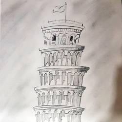 tower of pisa, 8 x 11 inch, gursimar kaur,8x11inch,drawing paper,drawings,abstract drawings,fine art drawings,impressionist drawings,paintings for dining room,paintings for living room,paintings for bedroom,paintings for office,paintings for hotel,pencil color,graphite pencil,GAL02500636518