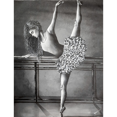a dancer in black, 20 x 26 inch, garima gupta,20x26inch,canvas,paintings,expressionism paintings,photorealism paintings,portraiture,realism paintings,surrealism paintings,realistic paintings,paintings for dining room,paintings for living room,paintings for bedroom,paintings for office,paintings for kids room,paintings for hotel,paintings for school,paintings for hospital,acrylic color,GAL02507036525