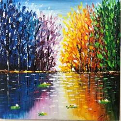 rainbow lake reflection, 16 x 12 inch, neha upadhye,16x12inch,canvas,paintings,abstract paintings,landscape paintings,modern art paintings,nature paintings | scenery paintings,paintings for dining room,paintings for living room,paintings for bedroom,paintings for dining room,paintings for living room,paintings for bedroom,acrylic color,GAL02508736529