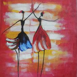 a tribal dancing girls, 12 x 10 inch, popo singh,abstract paintings,paintings for dining room,canvas,watercolor,12x10inch,GAL013293653