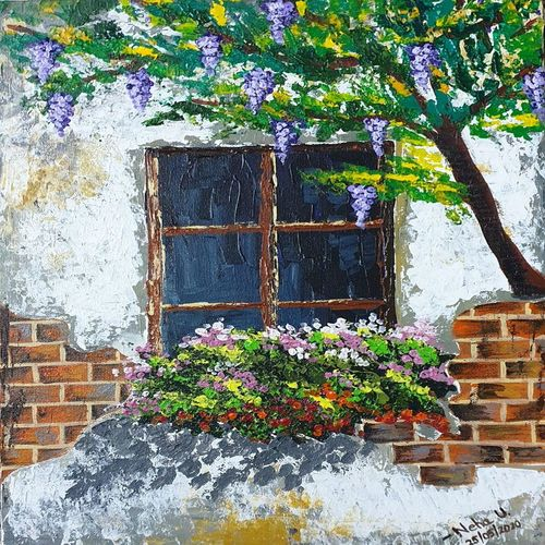 window in brick wall, 12 x 16 inch, neha upadhye,12x16inch,canvas,paintings,abstract paintings,cityscape paintings,landscape paintings,nature paintings | scenery paintings,paintings for dining room,paintings for living room,paintings for bedroom,paintings for office,acrylic color,GAL02508736531