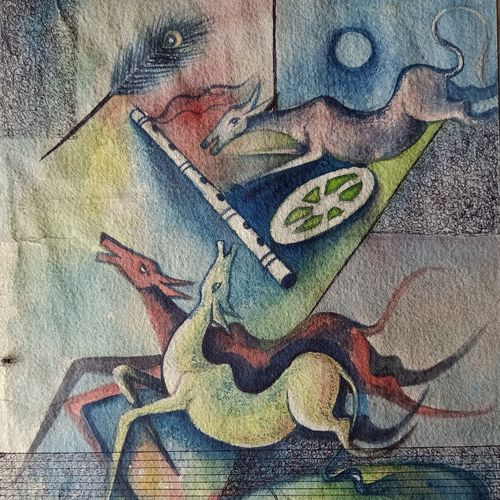 a flute , 11 x 14 inch, annie artist,11x14inch,handmade paper,paintings,figurative paintings,paintings for dining room,paintings for office,paintings for school,paintings for hospital,mixed media,GAL02486636540