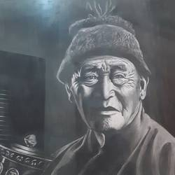 a buddhist old man, 22 x 28 inch, nathuram  bendkhale,22x28inch,thick paper,drawings,abstract paintings,figurative drawings,paintings for living room,charcoal,GAL0980636548