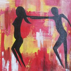 tribal ladies going for hunting, 11 x 16 inch, popo singh,abstract paintings,paintings for dining room,canvas,watercolor,11x16inch,GAL013293655