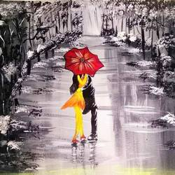 rainy  couple painting, 18 x 14 inch, poonam upadhyay,18x14inch,canvas,love paintings,paintings for living room,paintings for bedroom,paintings for hotel,paintings for living room,paintings for bedroom,paintings for hotel,acrylic color,GAL02389736554