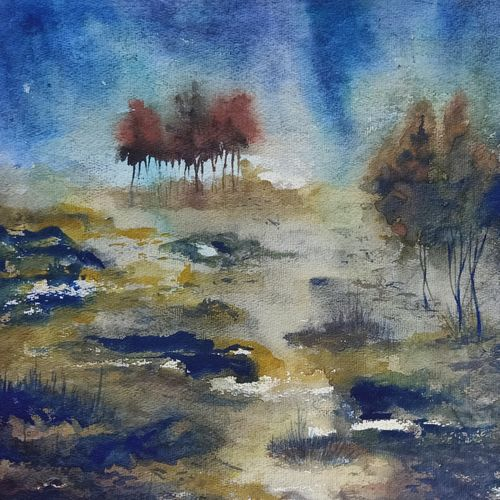 landscape, 13 x 16 inch, annie artist,13x16inch,handmade paper,paintings,landscape paintings,watercolor,GAL02486636557