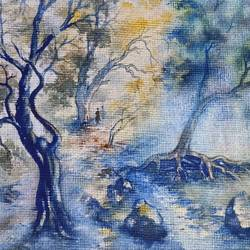 shades of tree, 15 x 10 inch, annie artist,15x10inch,handmade paper,paintings,landscape paintings,watercolor,GAL02486636565