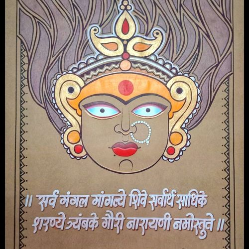 durga devi modern art, 20 x 27 inch, santosh dangare,20x27inch,thick paper,paintings,figurative paintings,modern art paintings,madhubani paintings | madhubani art,lord shiva paintings,acrylic color,GAL01969336571