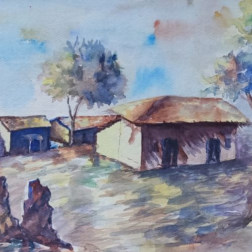 rural life, 16 x 13 inch, annie artist,16x13inch,handmade paper,paintings,landscape paintings,watercolor,GAL02486636573