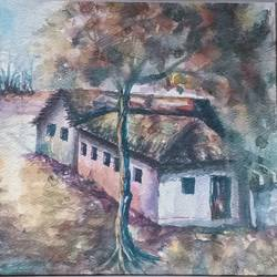 hut, 14 x 10 inch, annie artist,14x10inch,handmade paper,paintings,landscape paintings,watercolor,GAL02486636575
