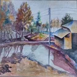 ponds, 14 x 10 inch, annie artist,14x10inch,handmade paper,paintings,landscape paintings,watercolor,GAL02486636578