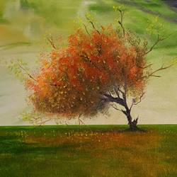 a lone tree, 16 x 12 inch, jeff bourne,16x12inch,canvas,paintings,landscape paintings,nature paintings   scenery paintings,paintings for dining room,paintings for living room,paintings for bedroom,paintings for office,paintings for kids room,paintings for hotel,paintings for school,oil color,GAL02367036579