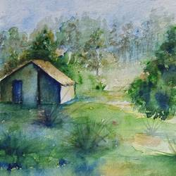 greenery, 13 x 9 inch, annie artist,13x9inch,handmade paper,paintings,landscape paintings,watercolor,GAL02486636583