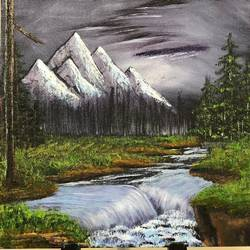 night river forest, 16 x 12 inch, neha upadhye,16x12inch,canvas,paintings,landscape paintings,realistic paintings,paintings for dining room,paintings for living room,paintings for bedroom,paintings for office,paintings for kids room,paintings for hotel,oil color,GAL02508736584