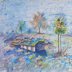 landscape, 13 x 9 inch, annie artist,13x9inch,handmade paper,paintings,landscape paintings,watercolor,GAL02486636585
