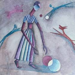 catch  the ball, 13 x 9 inch, annie artist,13x9inch,handmade paper,paintings,figurative paintings,watercolor,GAL02486636587