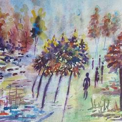 landscape, 13 x 10 inch, annie artist,13x10inch,handmade paper,paintings,landscape paintings,watercolor,GAL02486636588