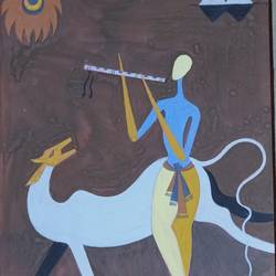 krishna, 6 x 9 inch, annie artist,6x9inch,cartridge paper,paintings,figurative paintings,acrylic color,GAL02486636589