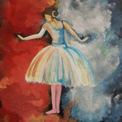dancing lady girl, 13 x 16 inch, popo singh,abstract paintings,paintings for bedroom,canvas,watercolor,13x16inch,GAL013293659